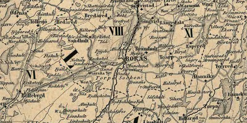 Borås.  Detalj ur Karta öfver Medlersta och Södra Sverige 1870 (Generalkartor över Sverige). Krigsarkivet.