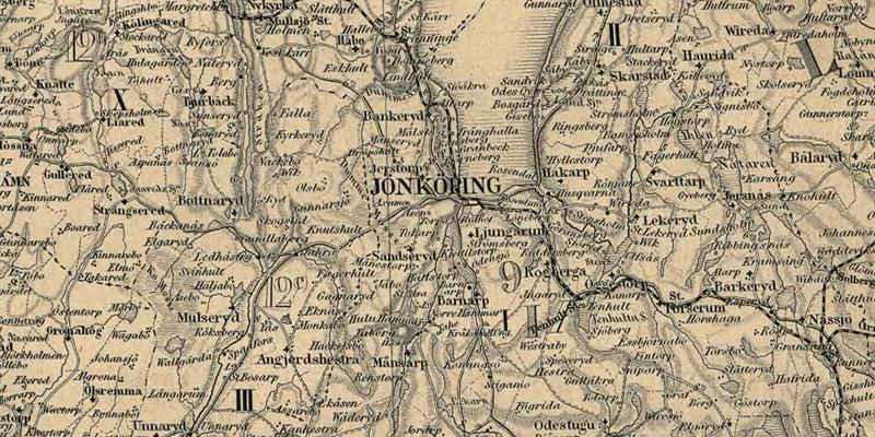 Jönköping. Detalj ur Karta öfver Medlersta och Södra Sverige 1870 (Generalkartor över Sverige). Krigsarkivet.