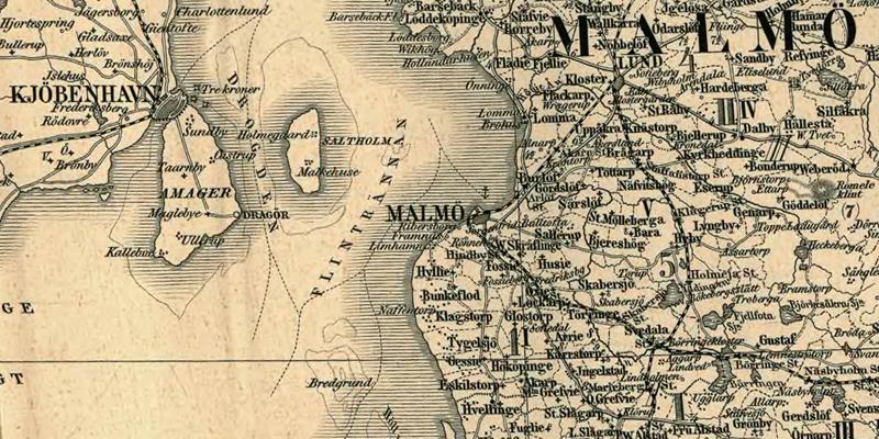 Malmö. Detalj ur Karta öfver Medlersta och Södra Sverige 1870 (Generalkartor över Sverige). Krigsarkivet.