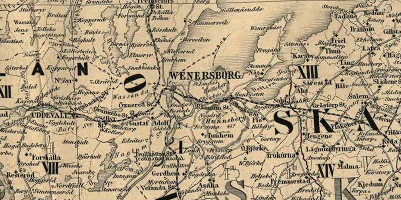 Vänersborg. Detalj ur Karta öfver Medlersta och Södra Sverige 1870 (Generalkartor över Sverige). Krigsarkivet.