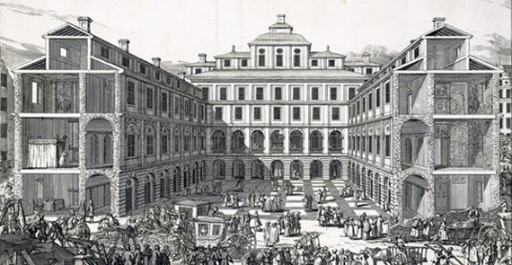 Södra stadshuset år 1691. Kopparstick av Willem Swidde ur Svecia Antiqua et Hodierna. Kungliga biblioteket.